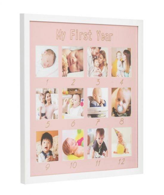 baby frame pink my first year side