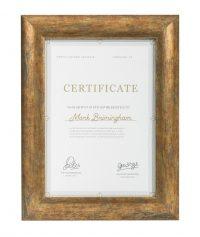 curved gold certificate frame side