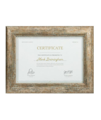 curved silver certificate frame