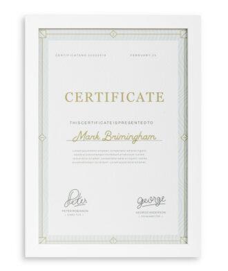 white wood certificate frame